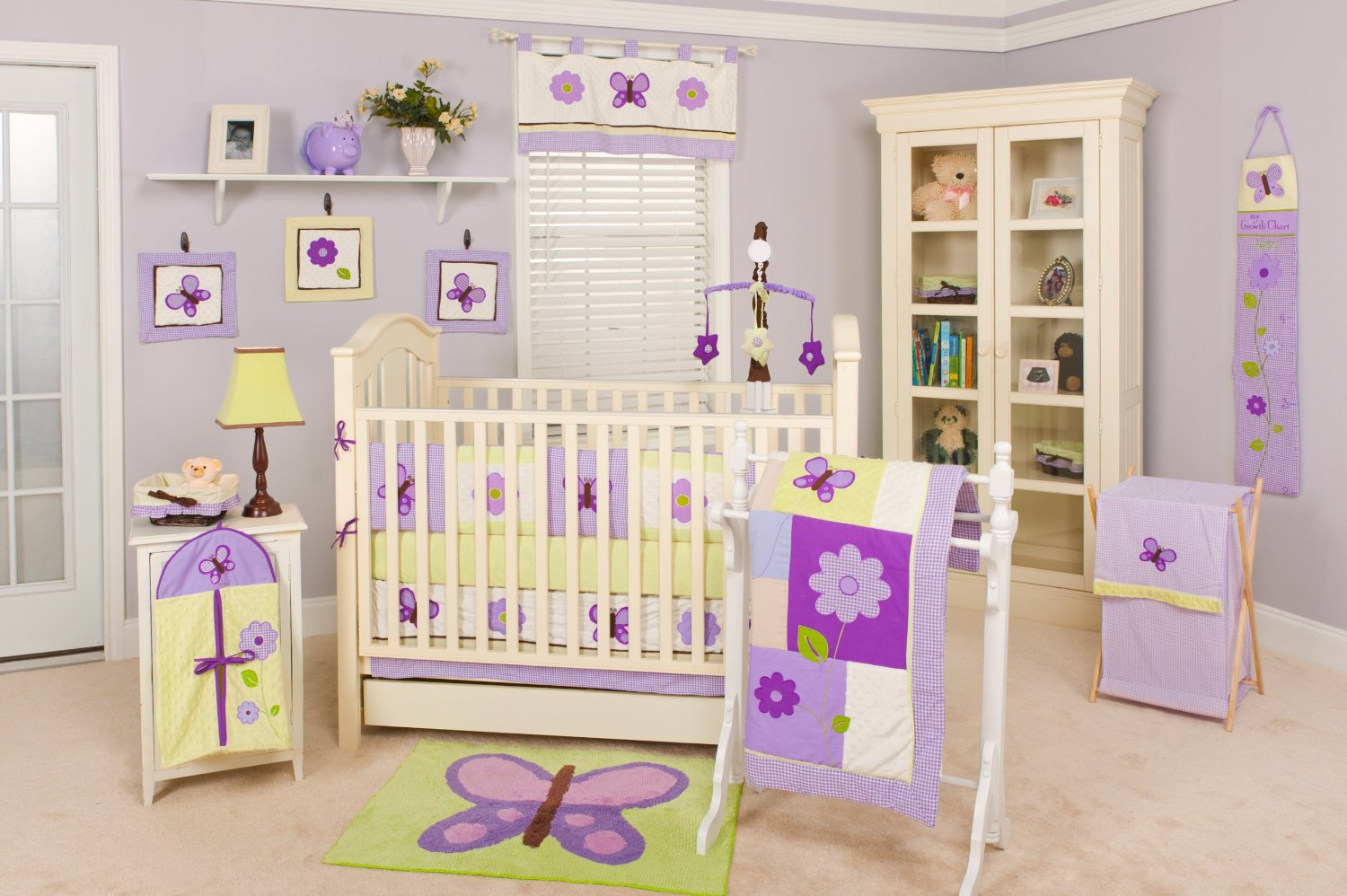 Image of: Pam Grace Creations Lavender Butterfly Nursery Collection Baby Bedding And Accessories