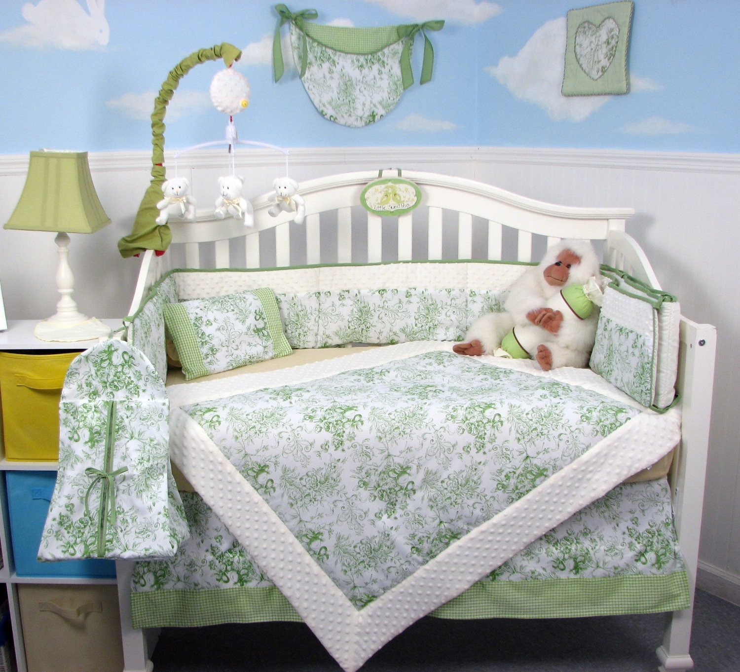 Soho French Sage Toile Baby Bedding