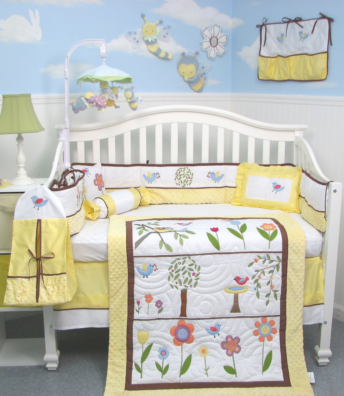 Soho Summer Bird Singing Baby Bedding Yellow