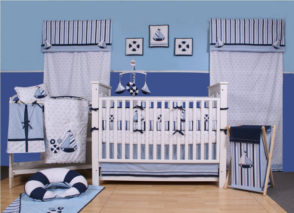 Bacati Little Sailor Baby Bedding And, Sailboat Baby Bedding Set