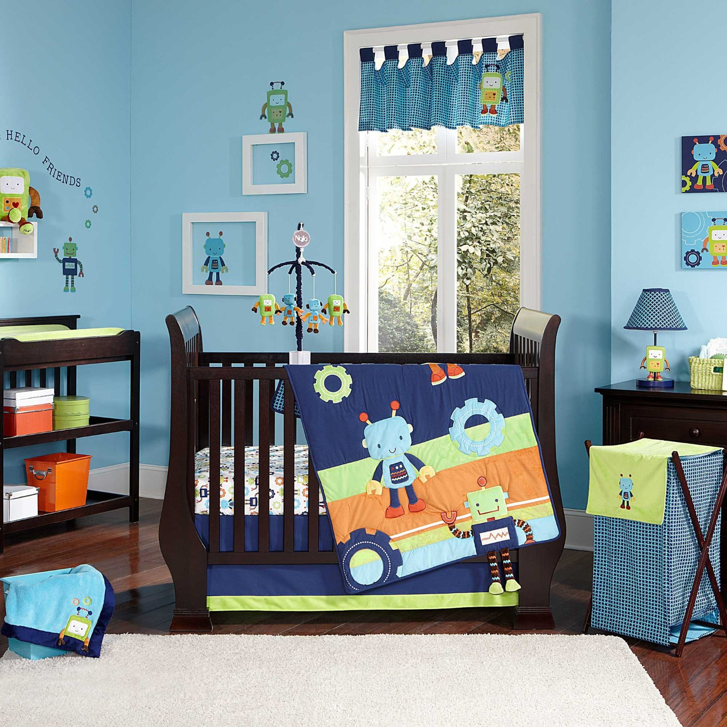 Nojo baby bots nursery collection baby bedding and for Robot baby room decor